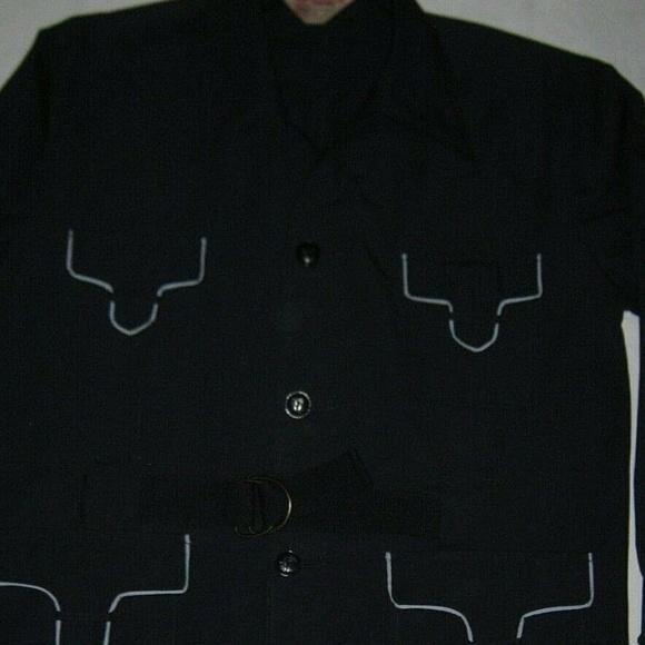 Unknown Vintage Other - Vtg Safari Jacket Blue Tab Pockets Belt 42-44